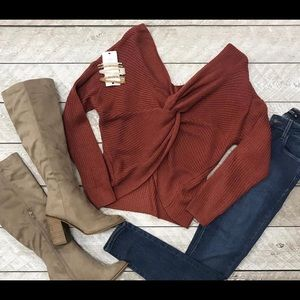Eve Twist Sweater- Rust